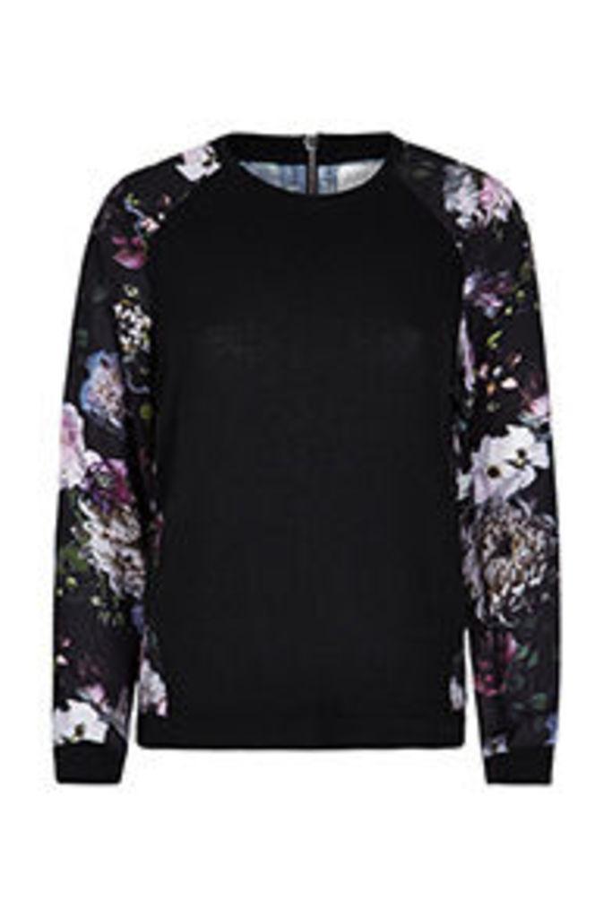 Black Winter Floral Print Panel Fine Knit Jumper