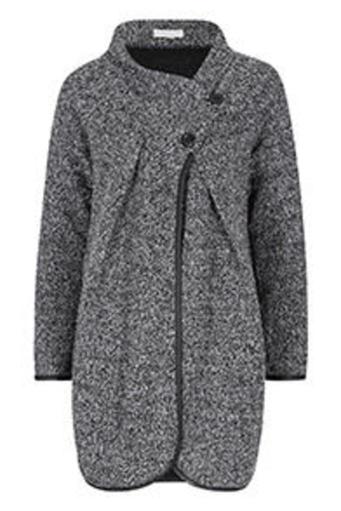 Grey Boucle Wrap Over Cocoon Cardigan