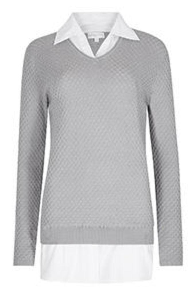 Grey 2 in 1 Shirt & Fine Knit Jumper