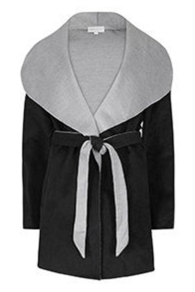 Black & Grey Waist Tie Coatigan