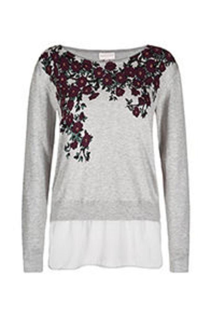 Grey & Burgundy Blossom Print Fine Knit Jumper