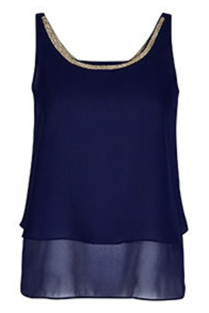 Navy Embellished Neckline Double Layered Vest Top