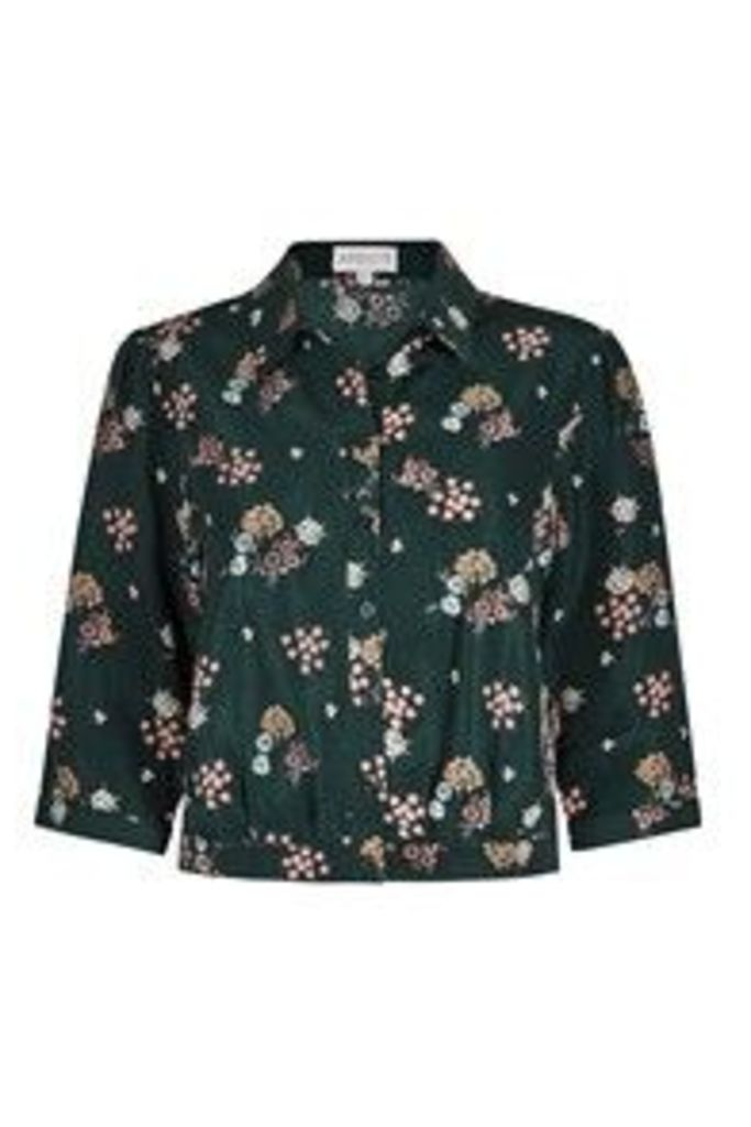 Green & Pink Daisy Bunches Print Shirt
