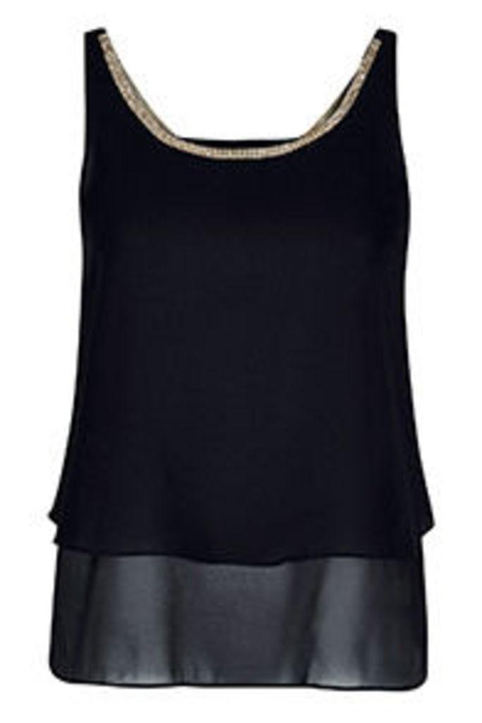 Black Embellished Neckline Double Layered Vest Top