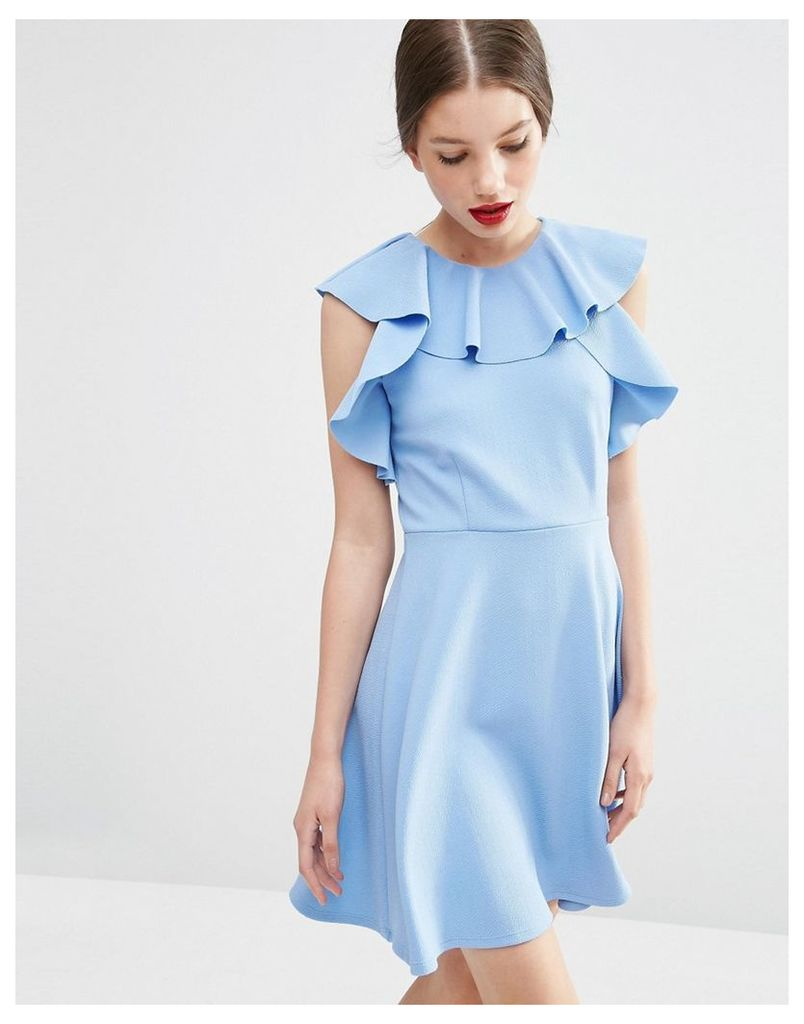 ASOS Skater Dress with Ruffle Neck - Blue