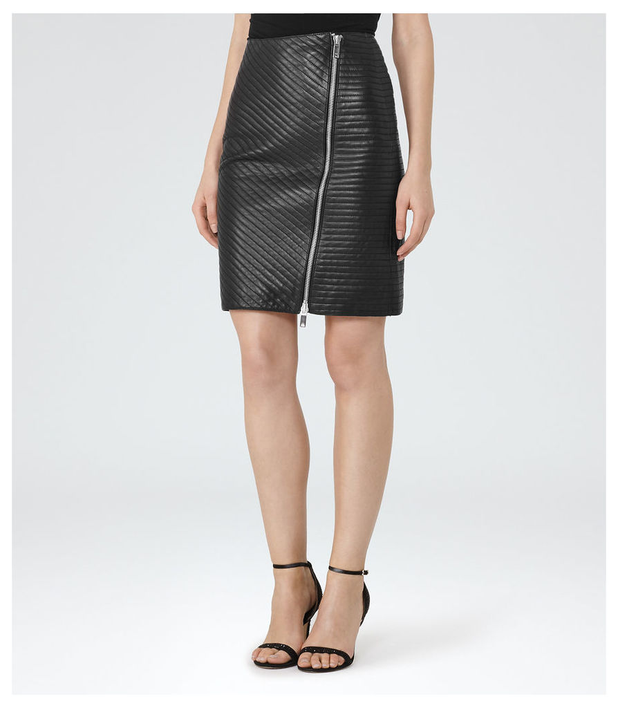REISS Azure - Womens Quilted Leather Pencil Skirt in Black