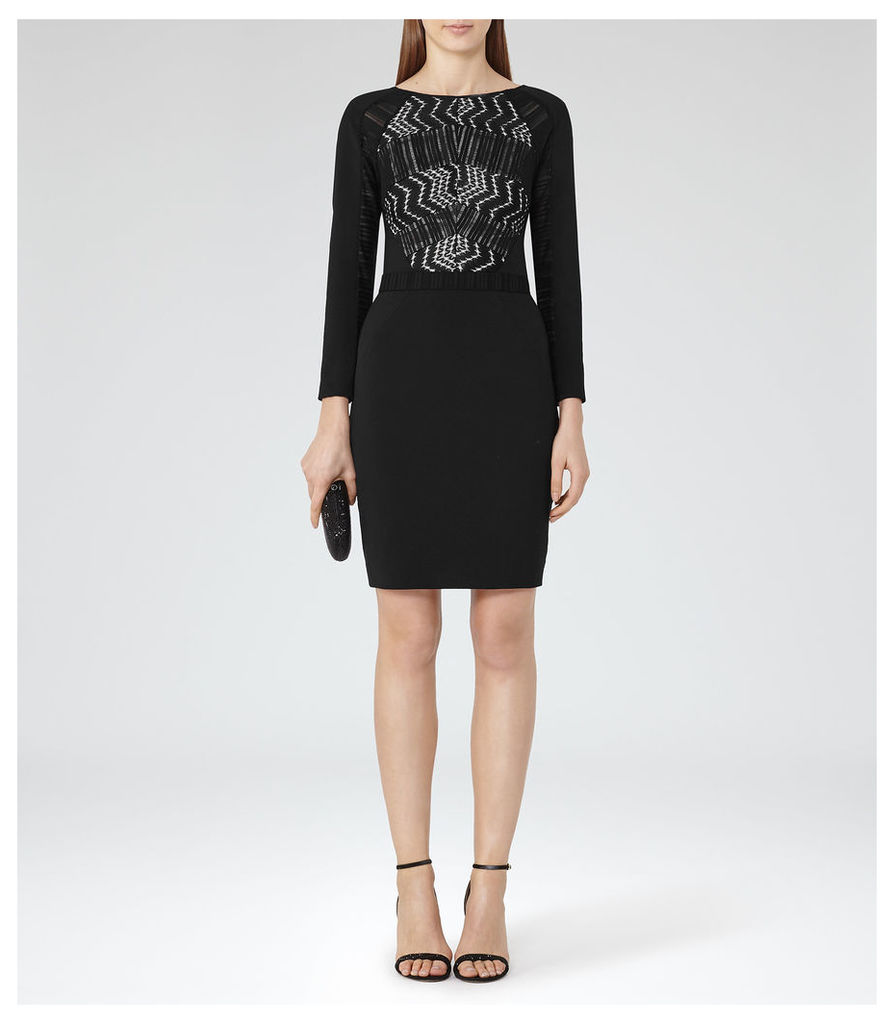REISS Libby - Womens Lace-front Dress in Black