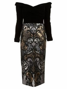 Marchesa Notte off-the-shoulder sequin embellished dress - Black