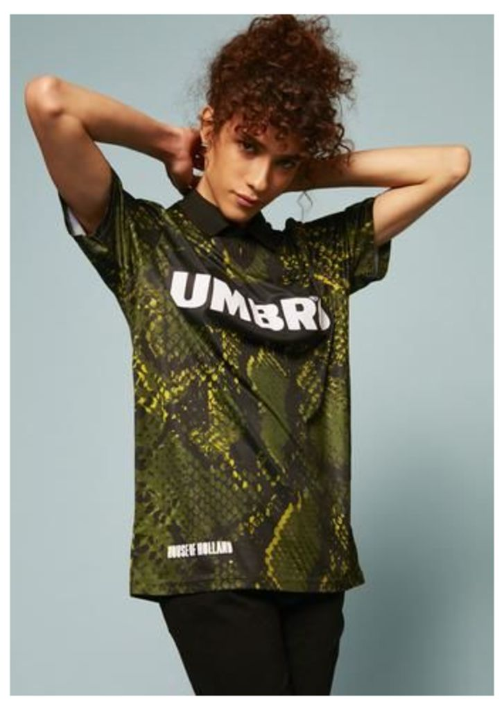 Umbro Snake Print Collared Football Top (Green)