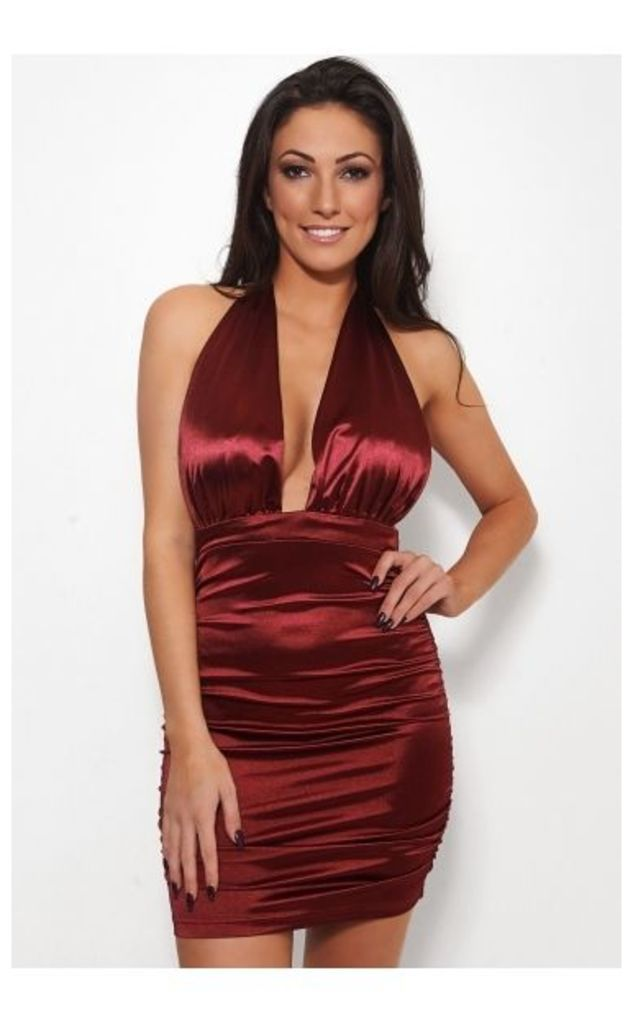 Burgundy Satin Halterneck Bodycon Dress