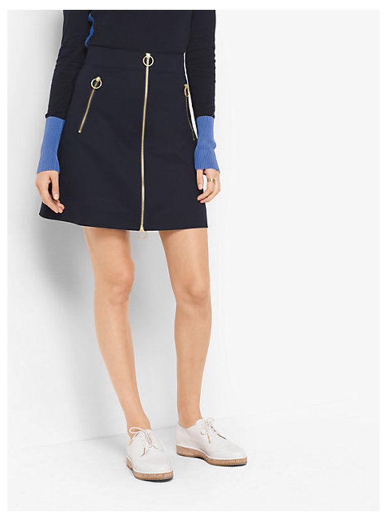 Zip-Front Double-Face Poplin Skirt