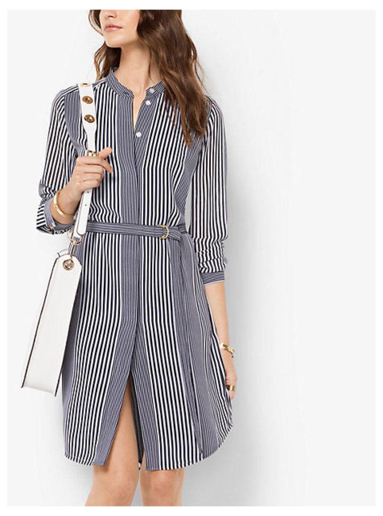 Striped Tie-Waist Georgette Dress