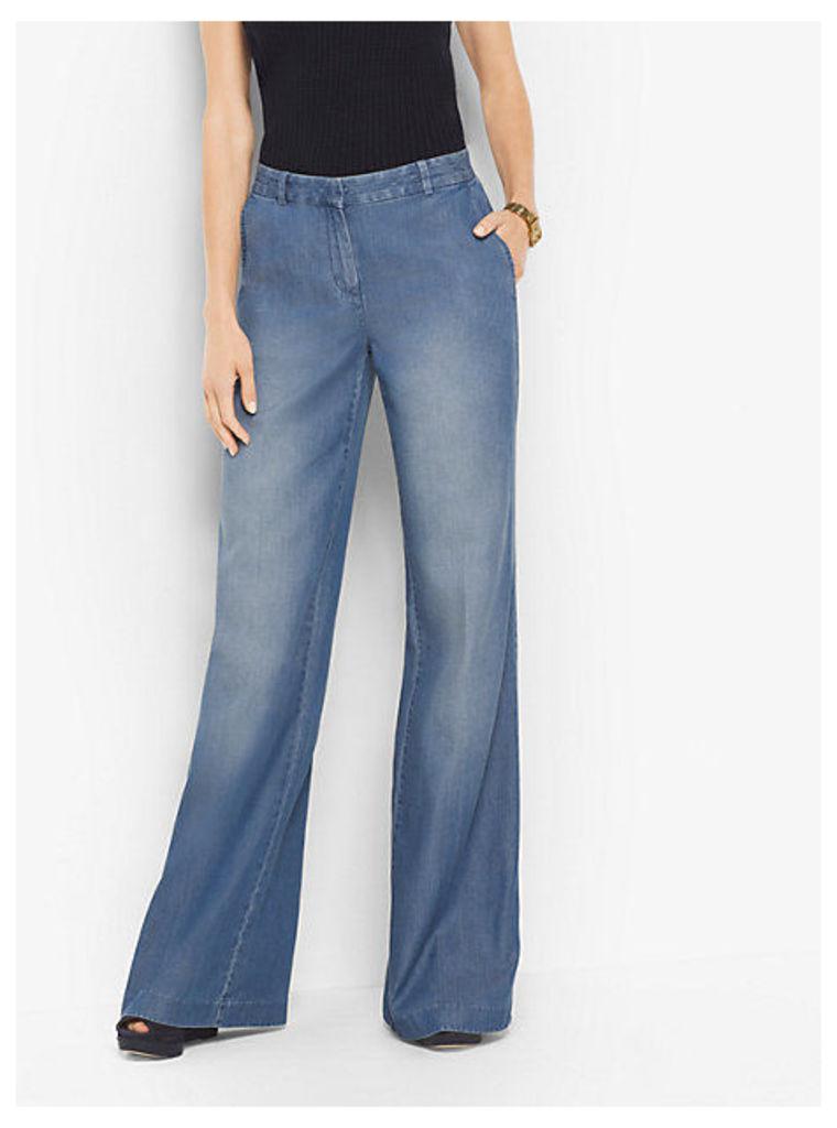 Chambray Wide-Leg Trousers