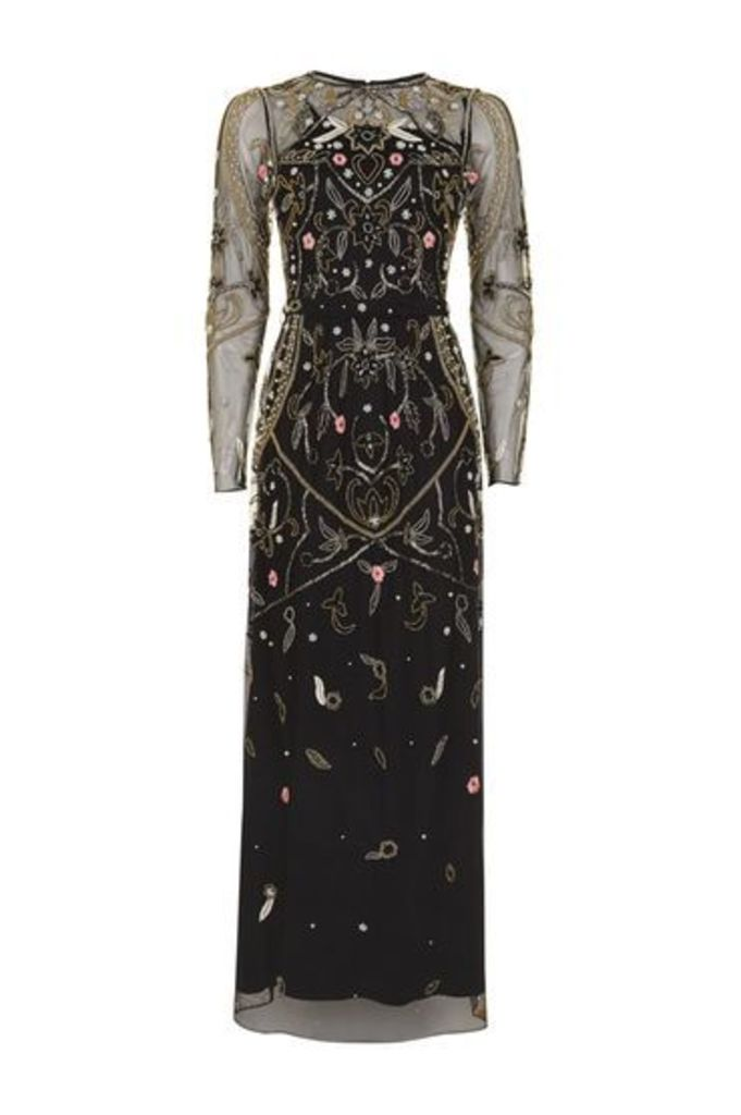 Womens Embroidered Bead Maxi Dress - Black, Black