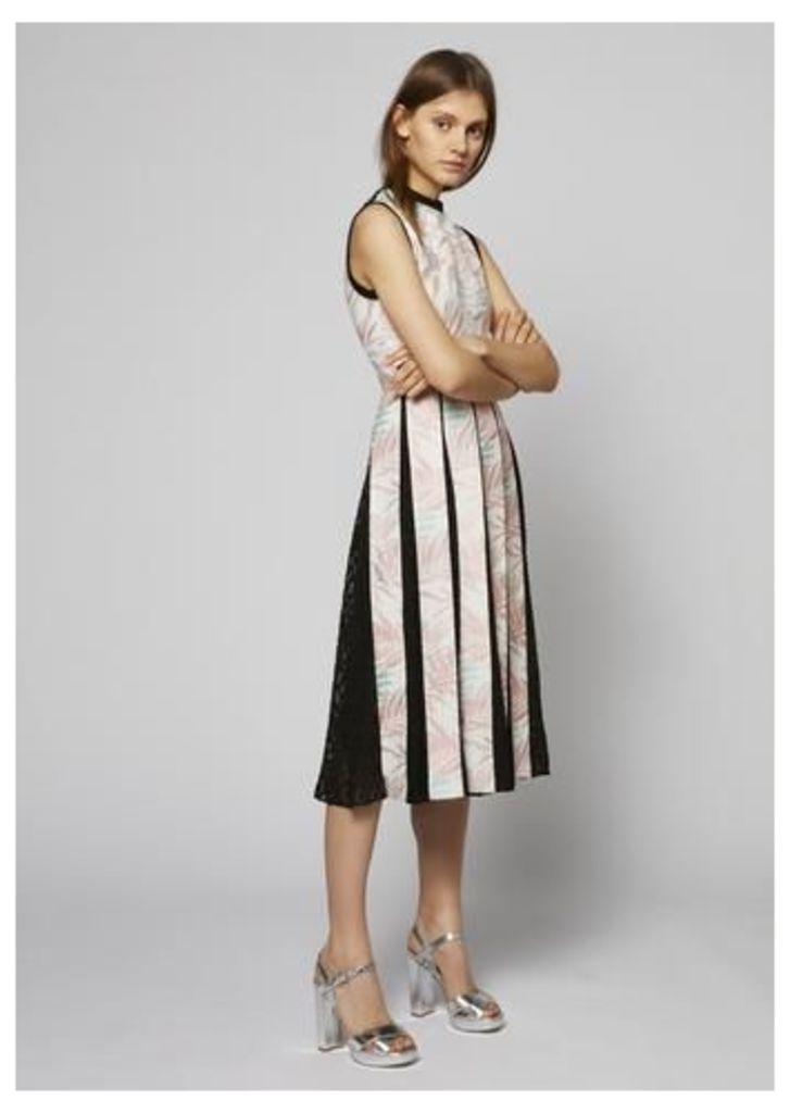 Palm Leaf Pleated Dress