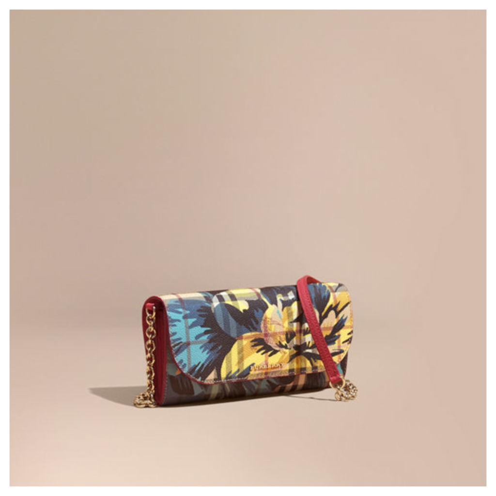 Peony Rose Print Haymarket Check Wallet with Chain