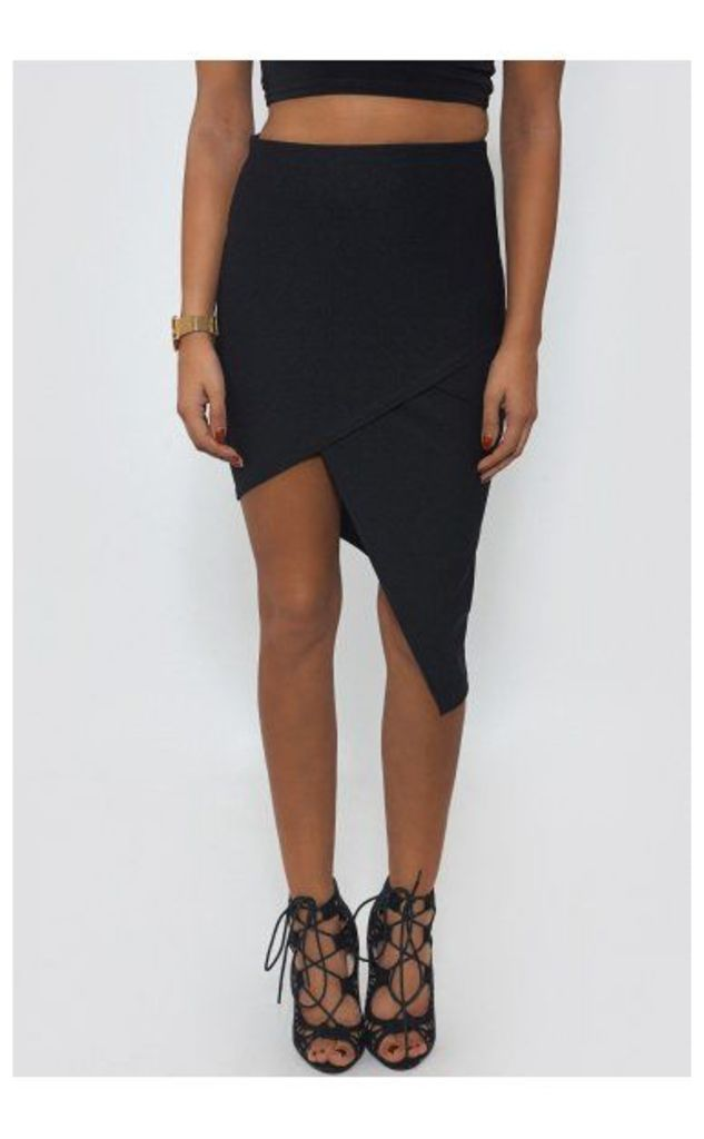 Asymmetric Black Bodycon Skirt