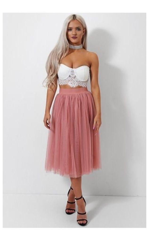 Nia Pink Tulle Midi Skirt