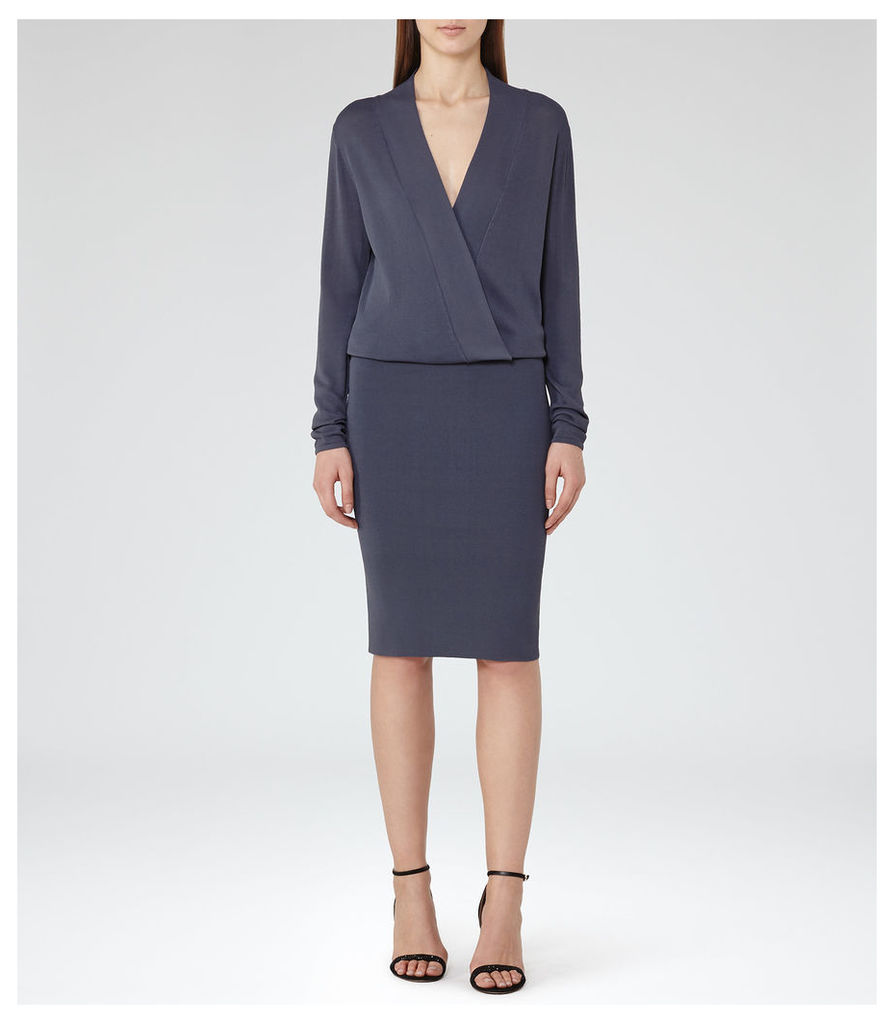 REISS Lisbeth - Womens Knitted Wrap-top Dress in Blue