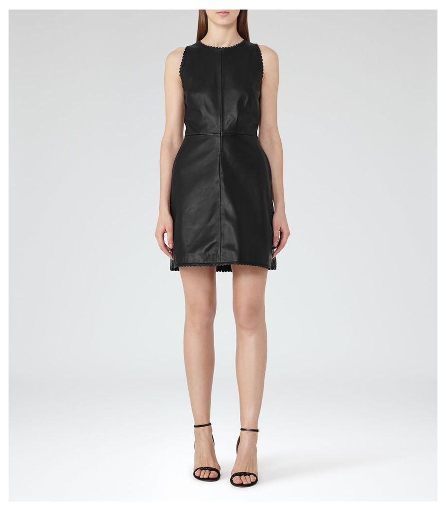 REISS Sahara - Womens Leather Fit And Flare Dress in Black