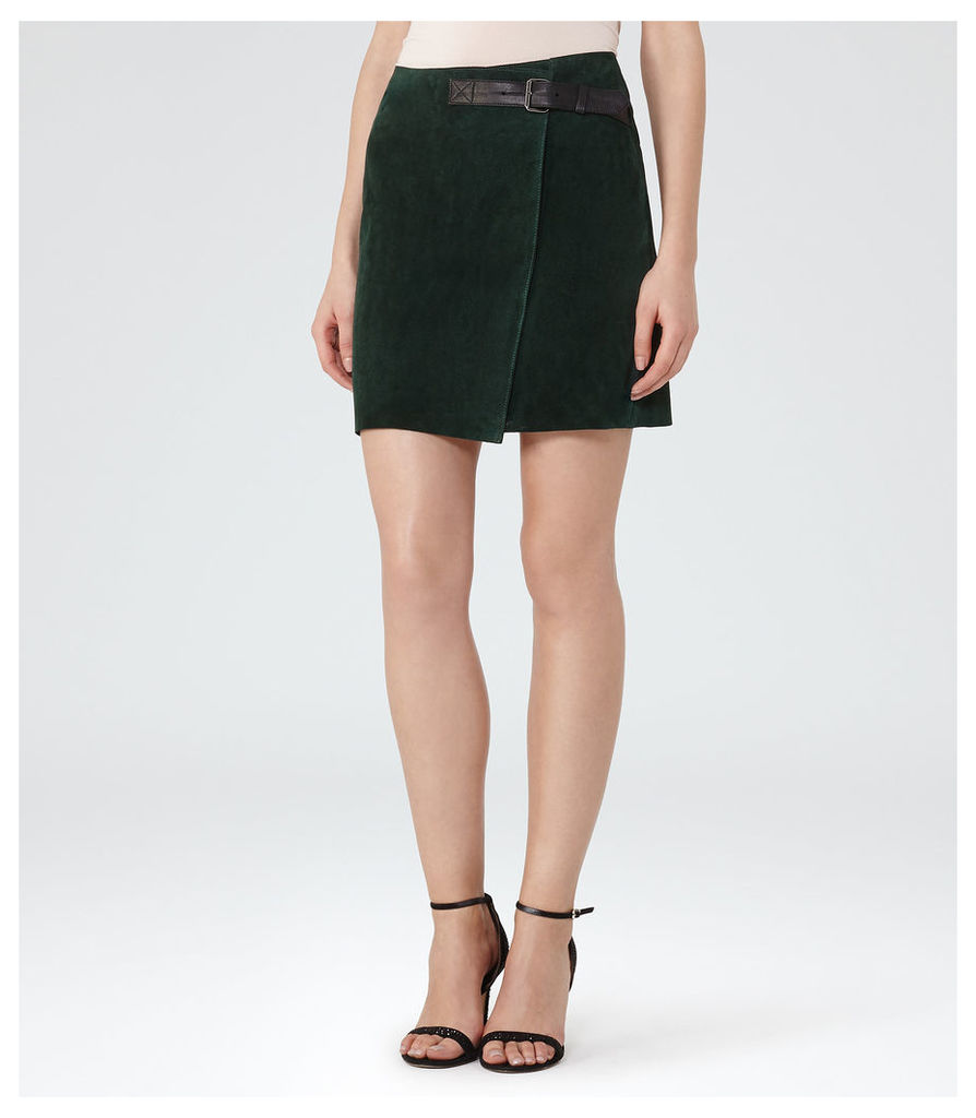 REISS Chase - Womens Suede Mini Wrap Skirt in Green