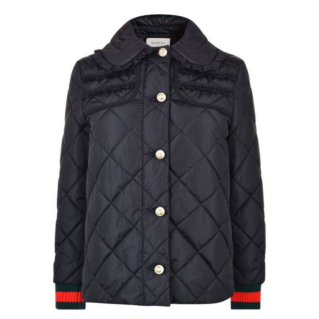 Quilted Ribbon Bomber Jacket