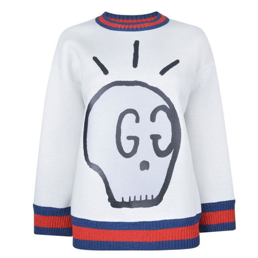Metallic Trimmed Printed Neoprene Sweatshirt