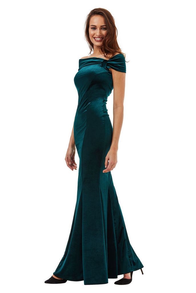 Bardot Velvet Maxi Dress with Bow Detail - Emerald