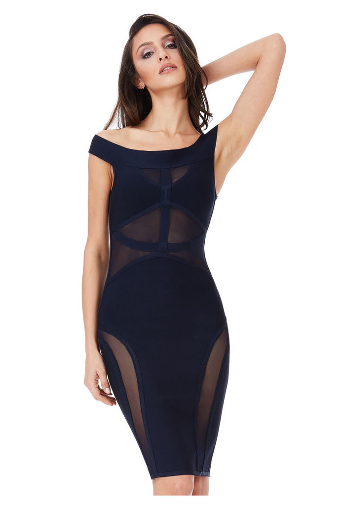 Bardot Cut Out Bodycon Dress - Navy