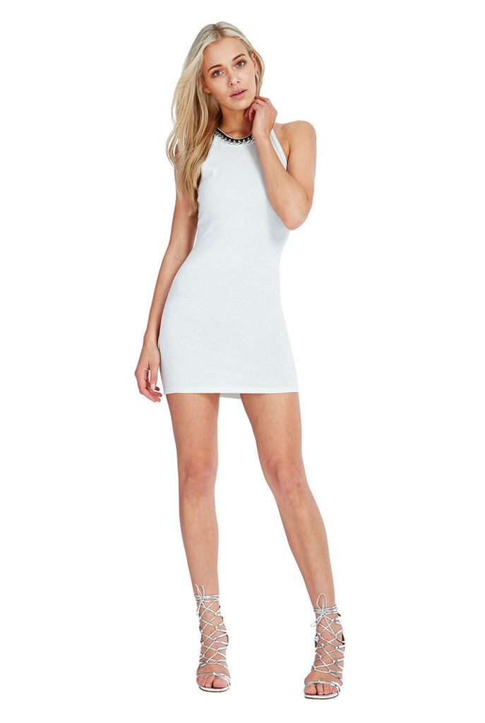 Halter Neck Bodycon Mini Party Dress - Silver