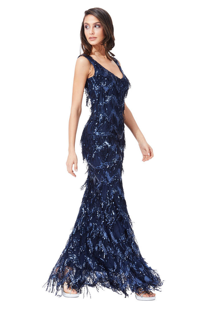 Sequin Flapper Maxi Dress - Navy