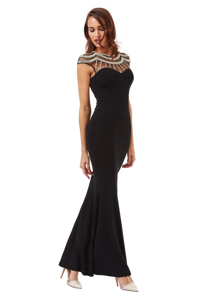 Embellished Fishtail Maxi Dress - Black