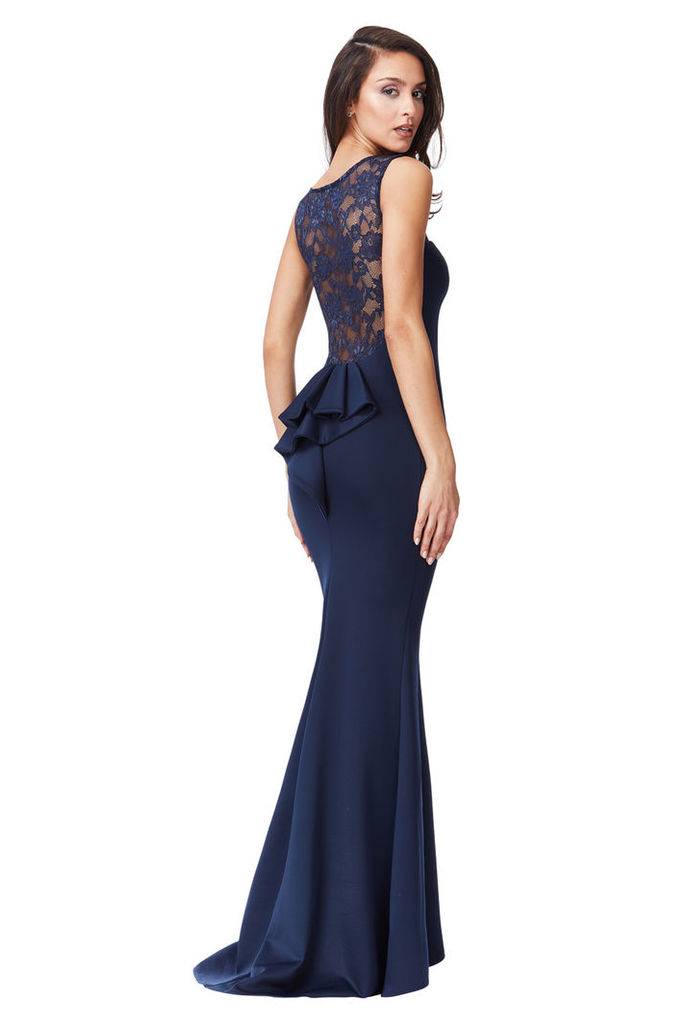 Lace Back Maxi Dress with Frill Detail - Navy