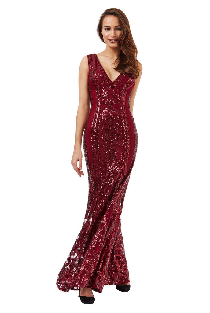 V Neck Sequin Fishtail Maxi Dress - Wine