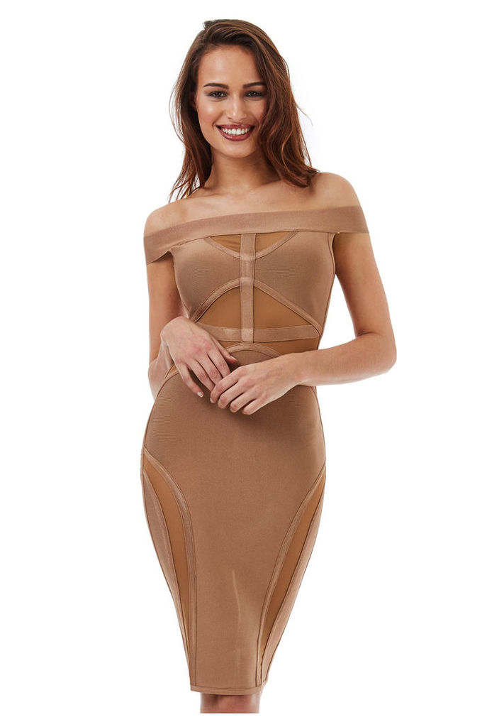 Bardot Cut Out Bodycon Dress - Tan