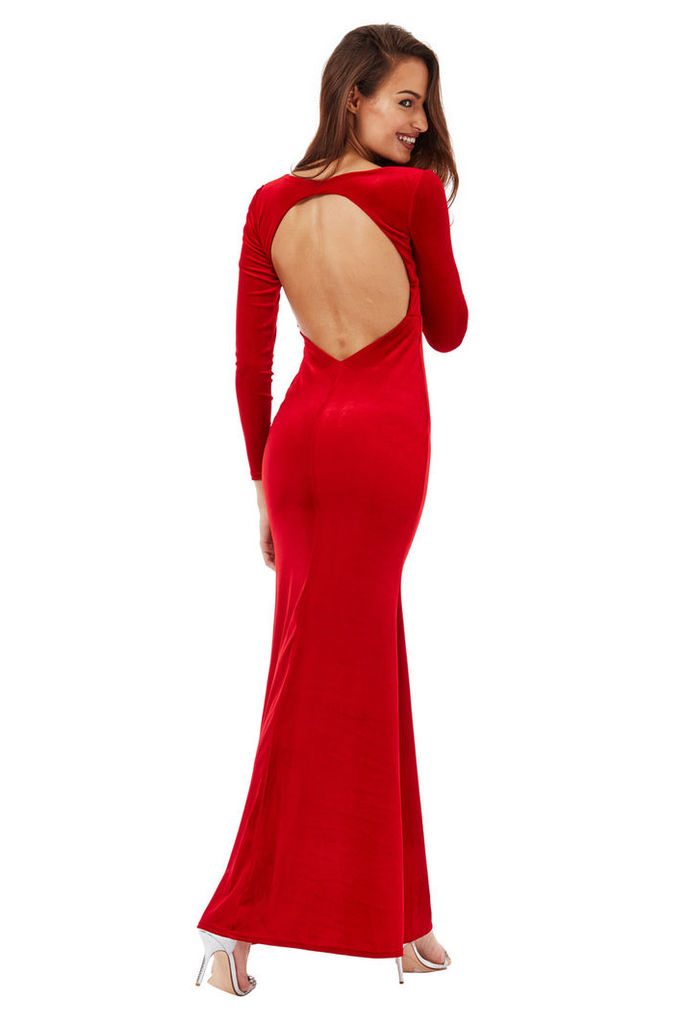 Open Back Velvet Maxi Dress - Red