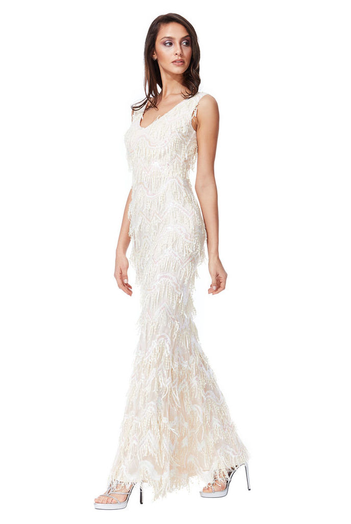 Sequin Flapper Maxi Dress - Cream