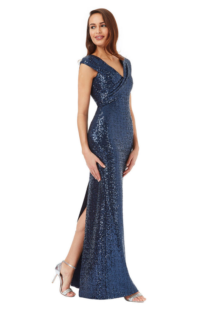 Sequin Maxi Dress with Pleated Neckline - Navy