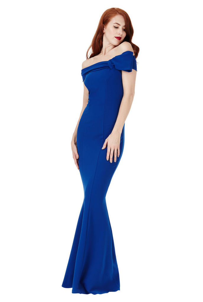 Bardot Fishtail Maxi Dress with Bow Detail - Royal Blue