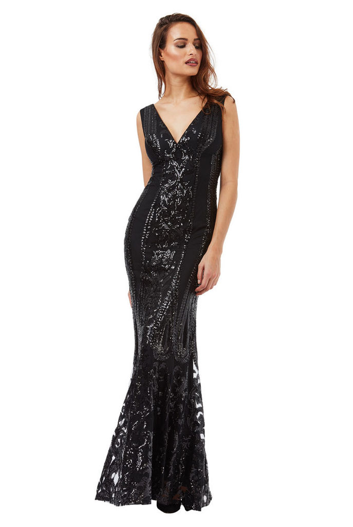 V Neck Sequin Fishtail Maxi Dress - Black