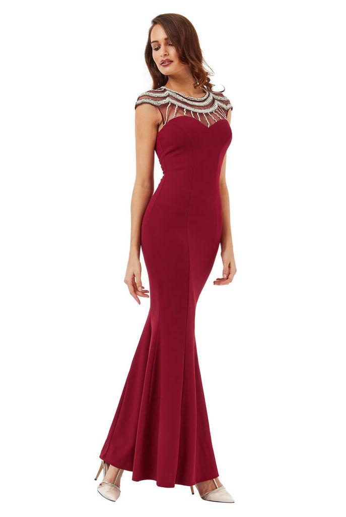 Embellished Fishtail Maxi Dress - Wine