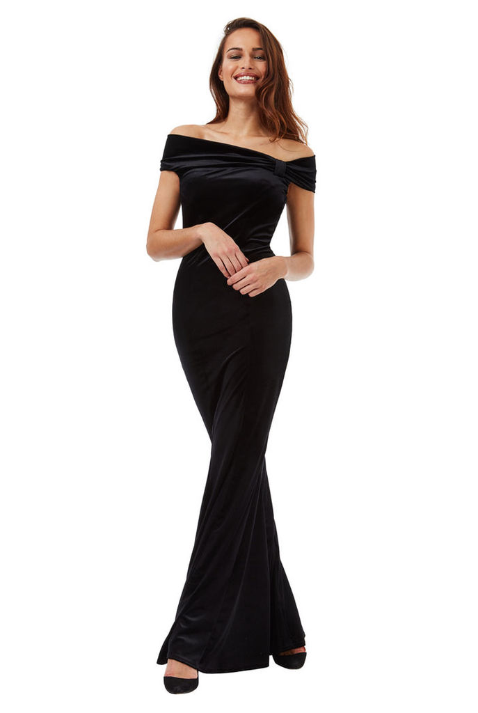 Bardot Velvet Maxi Dress with Bow Detail - Black