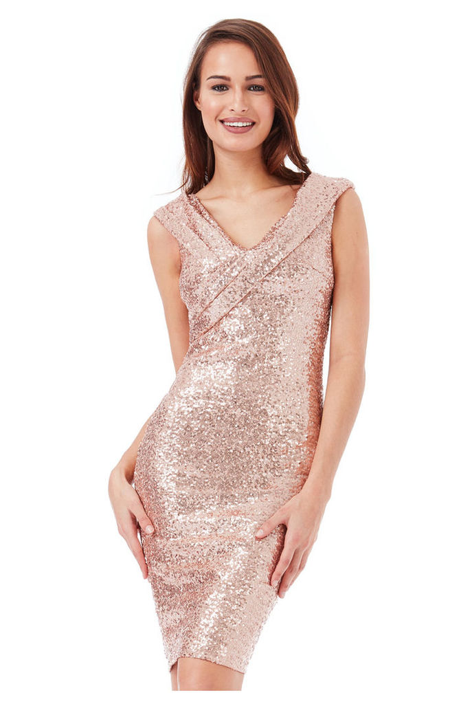 Sequin Midi Dress with Pleated Neckline - Champagne