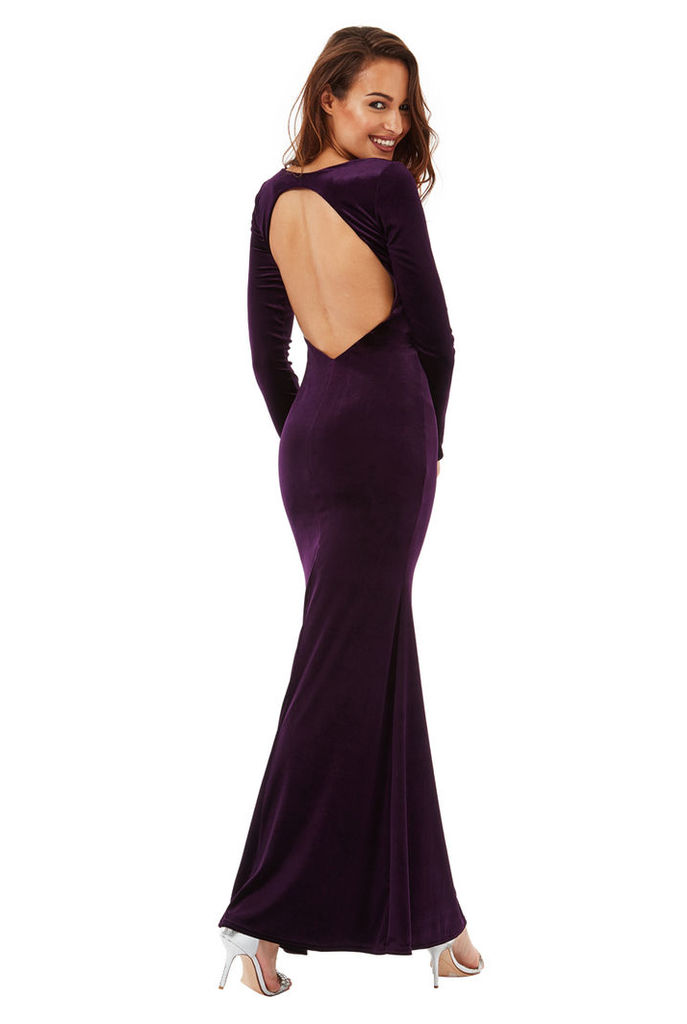 Open Back Velvet Maxi Dress - Plum