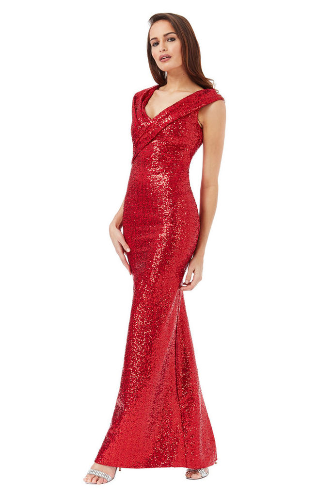 Sequin Maxi Dress with Pleated Neckline - Red