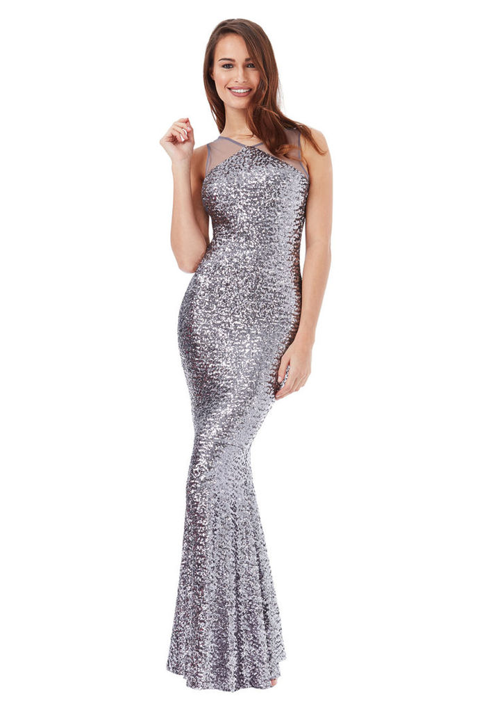 Sequin Fishtail Maxi with Mesh Detail - Silver