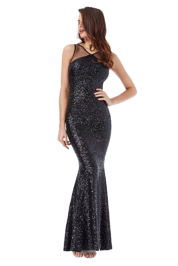Sequin Fishtail Maxi with Mesh Detail - Black