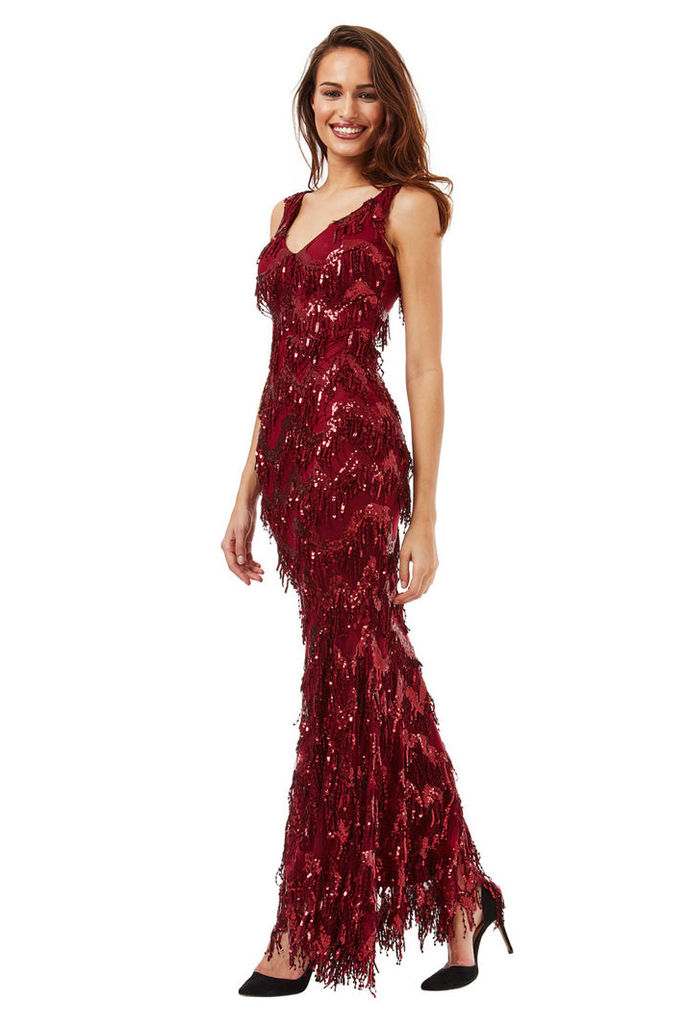 Sequin Flapper Maxi Dress - Wine