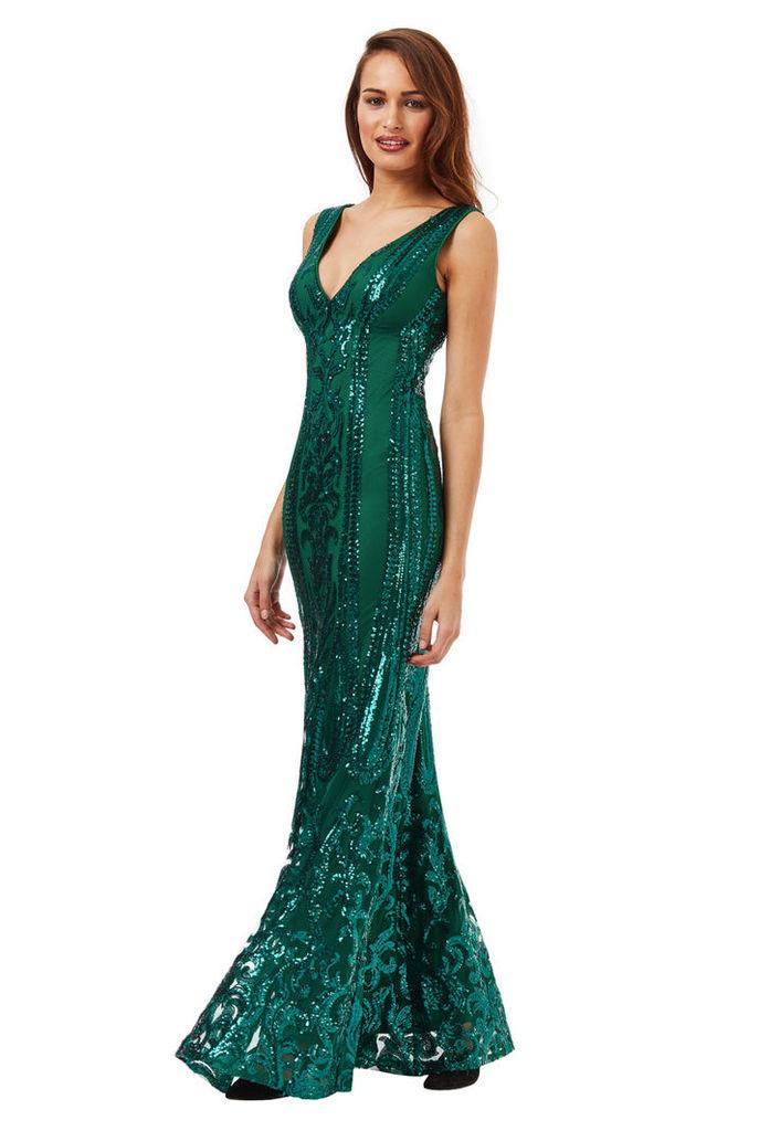 V Neck Sequin Fishtail Maxi Dress - Emerald