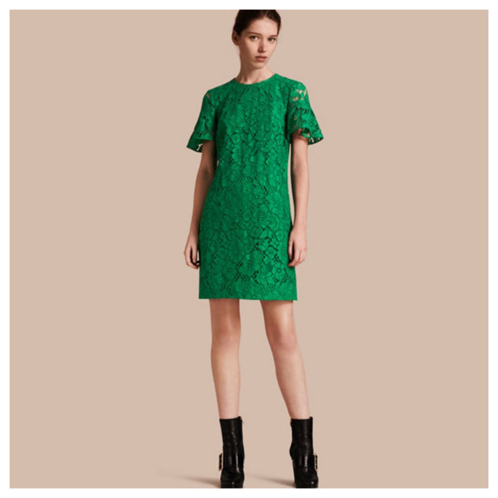 Macramé Lace Short Shift Dress with Ruffle Sleeves